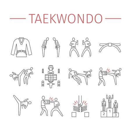 Taekwondo line icons set. Vector sports signs.