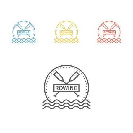 Rowing team logo. Vector signs for web graphics.