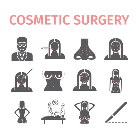 Cosmetic surgery icons set. Vector illustration. Illustration