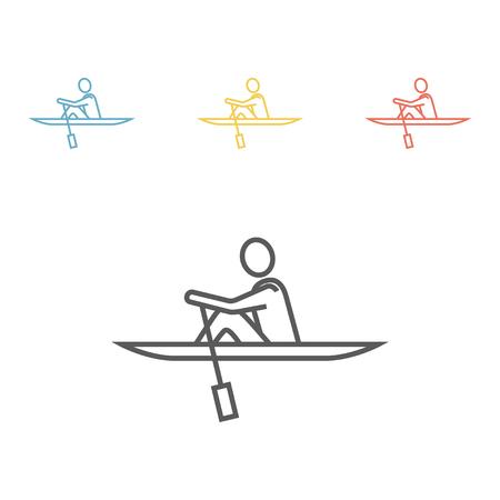 Rowing line icon, Vector illustration.