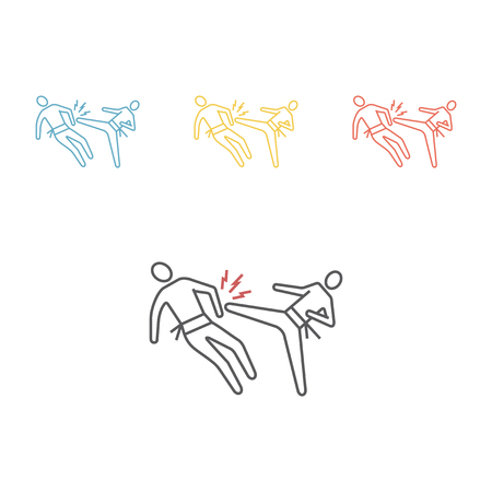 karate blow and defense line icon Vector sign