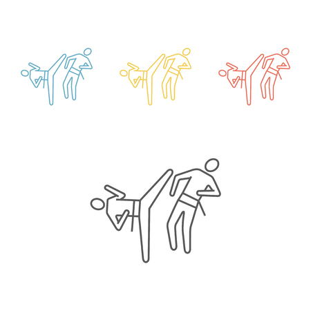 Karate blow and defense line icon Illustration