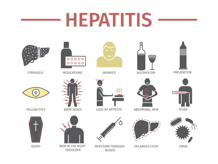 Hepatitis icon Infographics  Vector signs for web graphics. 版權商用圖片 - 97144229