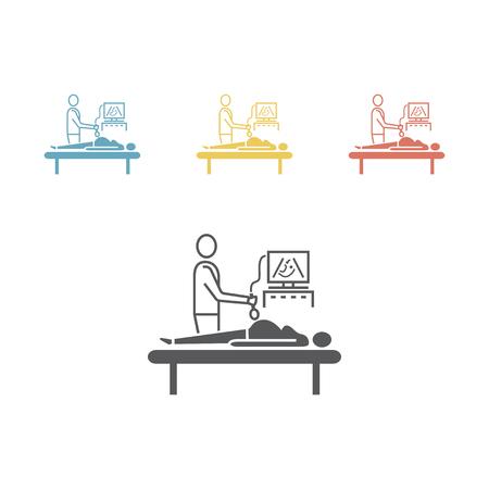 Échographie pendant la grossesse. Médecin faisant une échographie à une femme enceinte. Illustration vectorielle pour les sites Web.