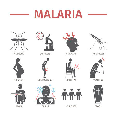 Malaria flat icon Infographics. Symptoms, signs for web graphics. Illustration