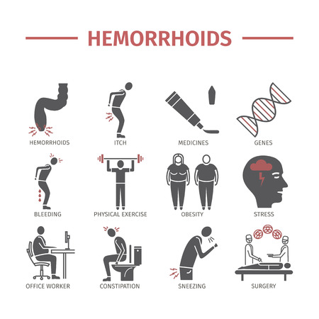 Hemorrhoids icon Infographics, signs for web graphics.