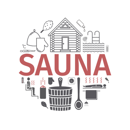 Sauna. Line banner. Vector signs for web graphics. 免版税图像 - 99073176