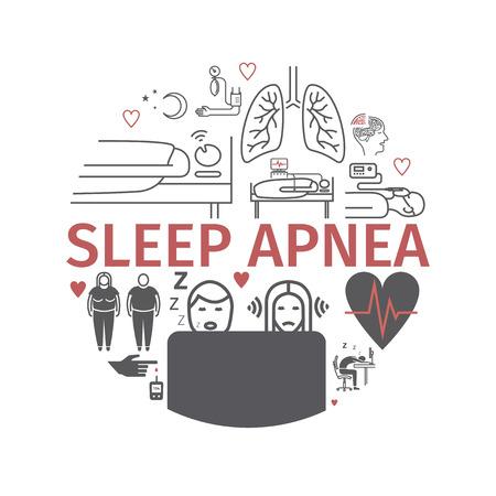 Sleep Apnea round banner. Symptoms, Treatment. Line icons. Vector signs for web graphics. Illustration