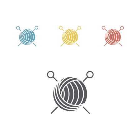 Yarn ball and needles icon. Vector signs for web graphics