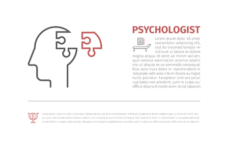 Two Puzzle heads silhouettes symbolizing Psychology, psychological problems.Vector available. Illustration