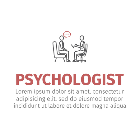 psychologist, consultant vector line icon, sign, illustration on background, editable strokes