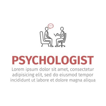 Psychologe, Berater Vektor Linie Symbol, Zeichen, Illustration auf Hintergrund, bearbeitbare Striche