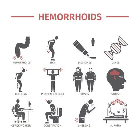 Hemorrhoids icon Infographics. Signs for web graphics. Stock Photo