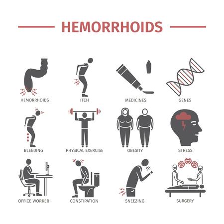 Hemorrhoids icon Infographics. Signs for web graphics. Stockfoto