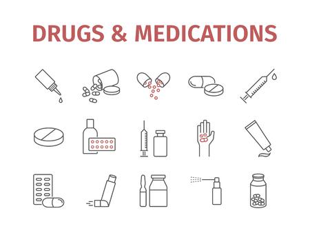 Medicine drugs pills. Medical supplies line icons set. sign