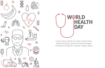 World Health Day heart and stethoscope design. signs for web graphics.
