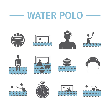 Water polo flat icons. Vector sports signs. Illustration