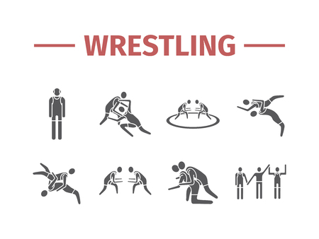 Wrestling flat icons. Greco-Roman. Vector sports signs.