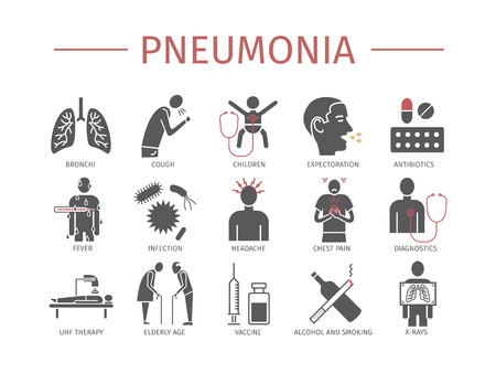 Pneumonia. Symptoms, Treatment. Flat icons set. Vector signs for web graphics Stock Illustratie