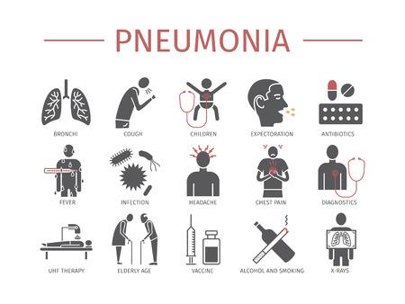 Polmonite. Sintomi, trattamento. Set di icone piane. Segni di vettore per la grafica web Vettoriali