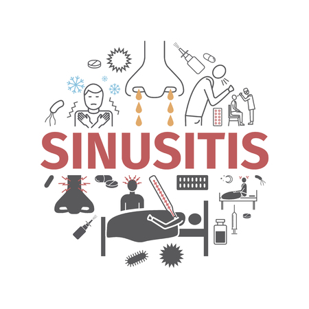 Sinusitis. Symptoms, Treatment. Line icons set. Vector signs for web graphics