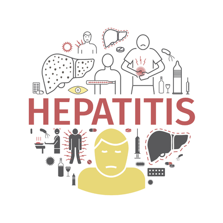 Hepatitis line icon Infographics. Symptoms, Treatment. Vector signs for web graphics.