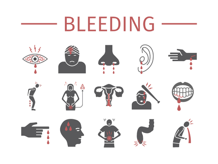 Bleeding icons set. Infographic sign. Vector signs for web graphics.