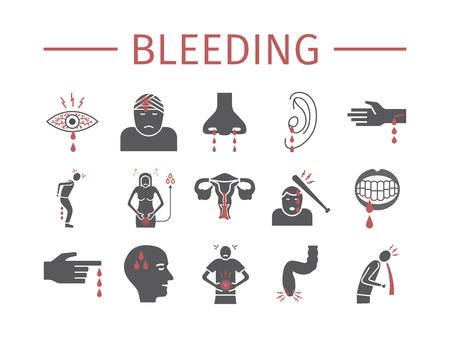 Bloeden pictogrammen instellen. Infographic teken. Vector tekenen voor webafbeeldingen.
