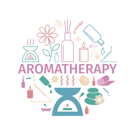Essential Oil icon. Aromatherapy oils set. Vector Stock Illustratie