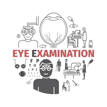 Eye Examination banner. Line icons set. Vector signs for web graphics. Illustration