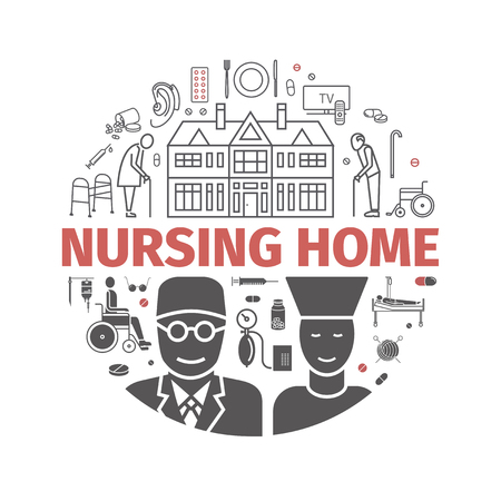 Nursing Home banner. Medical Care for The Elderly. Symbols of Older People Vector illustration. Çizim