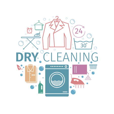 Dry cleaning services. Banner. Vector icons.