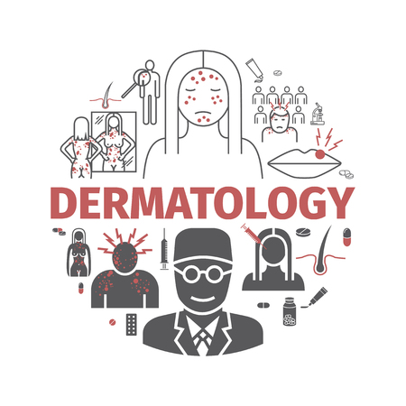 Dermatology banner. Line icons set. Vector signs for web graphics. Ilustracja
