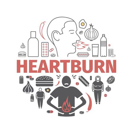 Heartburn banner. Symptoms, Treatment. Line icons set. Vector signs for web graphics.