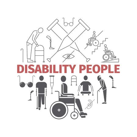 Disabled People banner. Vector illustration, line icons. Illustration