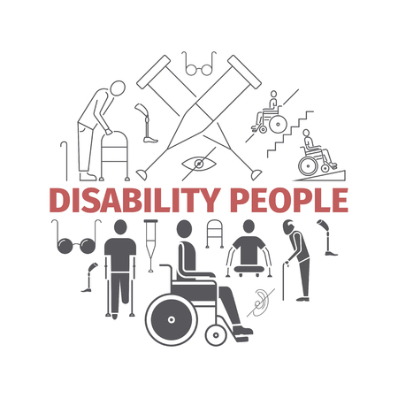 Disabled People banner. Vector illustration, line icons. Illustration