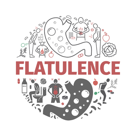 Flatulence banner. Symptoms, Treatment. Line icons. Vector signs for web graphics.