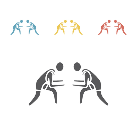 Atleet worstelen pictogram. Sport vector teken Vector Illustratie