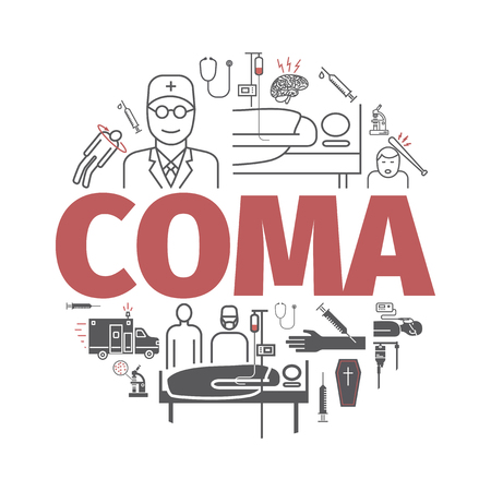 Coma banner. Hospital bed. Infographic line icons. Vector