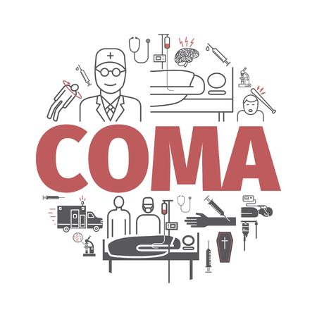 Coma banner. Ziekenhuis bed. Infographic lijn pictogrammen. Vector