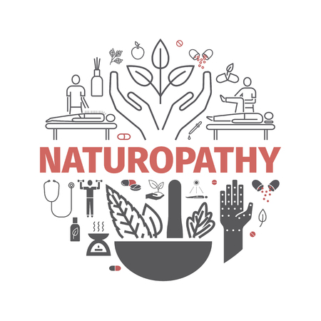 Alternative Medicine icons set. Naturopathy sign. Vector illustration.
