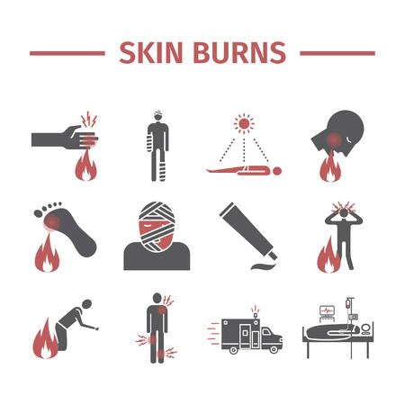 Skinl Burns kine icons. Treatment.