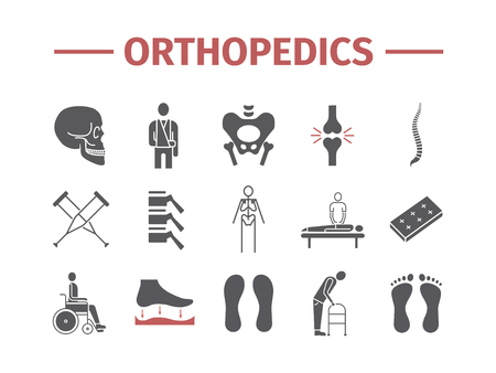 Orthopedic and trauma rehabilitation flat icons.