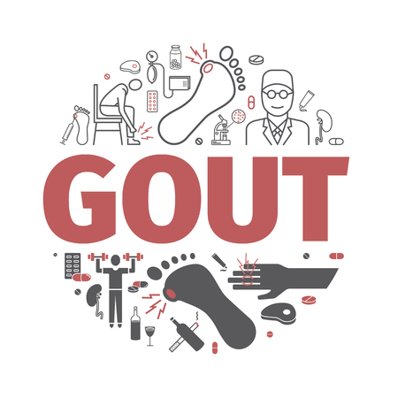 Gout banner. Symptoms, Treatment. signs for web graphics. Illustration