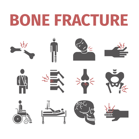 Bone Fractures icons. Treatment. Infographic. Vector Illustration