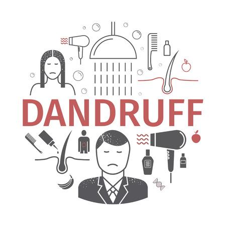 Dandruff banner signs for web graphics. Illustration