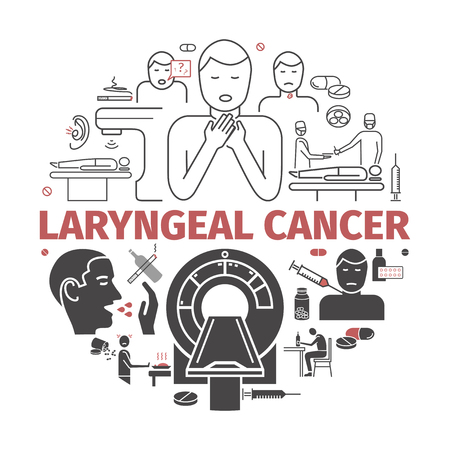Laryngeal cancer. Symptoms, Causes. Flat icons set. Vector signs for web graphics Vector Illustration