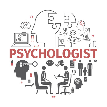 Psychologist line icons set. Conceptual infographics. Counseling psychology. Vector sign for web.