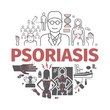 Psoriasis banner. Symptoms, Treatment illustration.