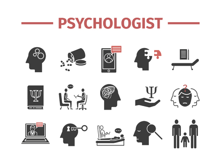 Psychologist icons set. Conceptual infographics. Counseling psychology. Vector sign for web graphics.